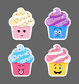 set of cupcake emojis icons vector image vector image