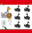 shadow activity game with animals characters vector image vector image