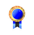 shiny realistic blank empty golden blue medal vector image