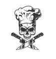 skull without jaw in chef hat vector image vector image