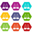 small bra icons set 9 vector image vector image
