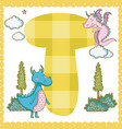 t alphabet letter for kids vector image