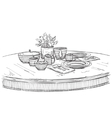 Table setting set Weekend breakfast or dinner vector image