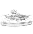 Table setting set Weekend breakfast or dinner vector image