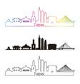 taipei v2 skyline linear style with rainbow vector image vector image