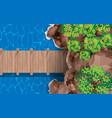 top view wooden bridge in cave at beach vector image vector image
