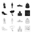 wedding and attributes blackoutline icons in set vector image vector image