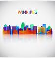 winnipeg skyline silhouette in colorful geometric vector image vector image
