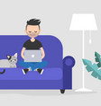young freelancer working at home flat editable vector image vector image