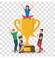 cup trophy successful winner flat business success vector image