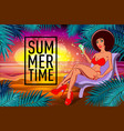 black girl with a cocktail on a beach summer vector image