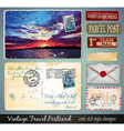 Travel Vintage Postcard Design with antique look vector image