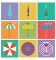 Umbrella icons in flat style vector image