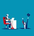 artificial intelligence vs human and job vector image vector image