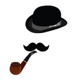 Bowler hat smoking pipe and mustache vector image vector image