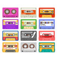 cassettes different color music tape retro audio vector image vector image