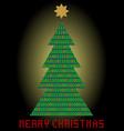 christmas tree digital designed christmas card vector image vector image
