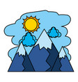 color nature mountains with sun and clouds vector image vector image