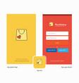 company shopping bag splash screen and login page vector image vector image