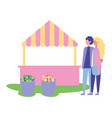 couple hugging park booth flower buckets vector image
