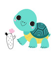 cute turtle with shell and short feet walking vector image