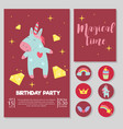 cute unicorn baby birthday party card vector image