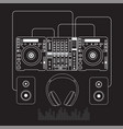 dj mixer sound turntables headphone isolated vector image