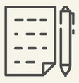document with pen line icon list and pen vector image