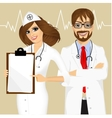 experienced male and female doctors vector image vector image