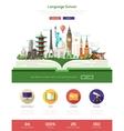 Flat design language school website header banner vector image vector image