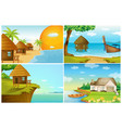 four background scenes with ocean and river vector image vector image