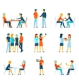 Friendship brotherhood flat icons set vector image vector image
