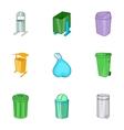 Garbage storage icons set cartoon style vector image vector image