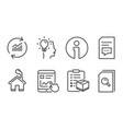 internet report idea and parcel checklist icons vector image vector image