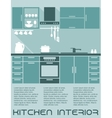 Kitchen flat interior design template vector image vector image