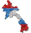 laos map on a brick wall vector image