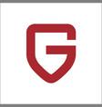 letter g on shield logo vector image vector image