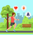 man running park with heart rate monitor watch vector image