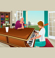 mother daughter playing piano together vector image vector image