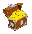 Open treasure chest Old casket with money Gold and vector image vector image