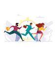 people rushing to work running person vector image