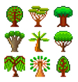 Pixel trees for games icons set vector image vector image