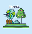 plane around world landscape tourist vacation vector image