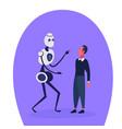 robot vs human modern robotic machine businessman vector image