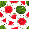 seamless pattern with cartoon watelmelons vector image