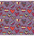 seamless pattern with colorful doodle hearts - St vector image vector image