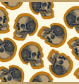 seamless skull pattern beige background vector image vector image