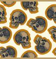 seamless skull pattern beige background vector image