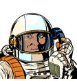serious astronaut talking on a retro phone vector image vector image