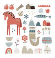 set christmas scandinavian animals and natural vector image vector image